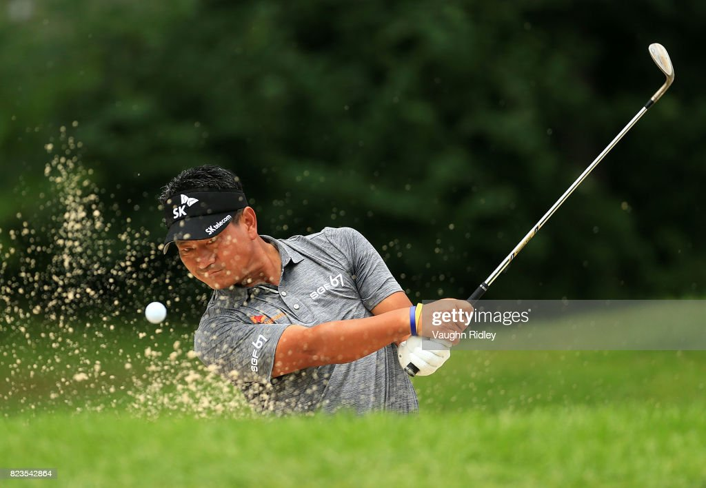 K.J. Choi of Korea plays his shot out of the bunker on the eighth hole during round one of the RBC Canadian Open at Glen Abbey Golf Club on July 27, 2017 in Oakville, Canada.