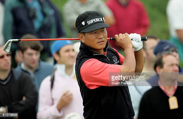 Choi of Korea tees off on the 3rd hole during the final round of the 133rd Open Championship at the Royal Troon Golf Club on July 18 2004 in Troon...