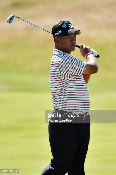 J Choi of Korea watches his shot during a practice round prior to the start of The 143rd Open Championship at Royal Liverpool on July 15 2014 in...