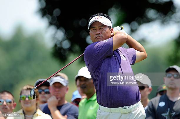 J Choi of South Korea hits a tee shot on the second hole during Round One of the ATT National at Congressional Country Club on June 28 2012 in...