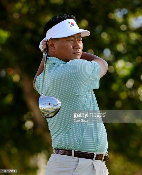 J Choi of South Korea hits from the first tee during the first round of the Sony Open in Hawaii held at Waialae Country Club on January 14 2010 in...