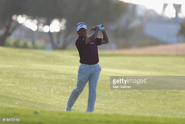 J Choi of South Korea hits his second shot on the third hole during the second round of the Waste Management Phoenix Open at TPC Scottsdale on...