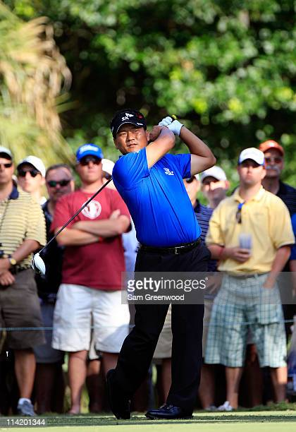 J Choi of South Korea hits his tee shot on the 15th hole during the final round of THE PLAYERS Championship held at THE PLAYERS Stadium course at TPC...