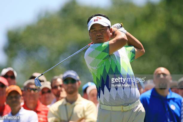 J Choi of South Korea hits his tee shot on the eighth hole during the second round of the ATT National at Aronimink Golf Club on July 1 2011 in...