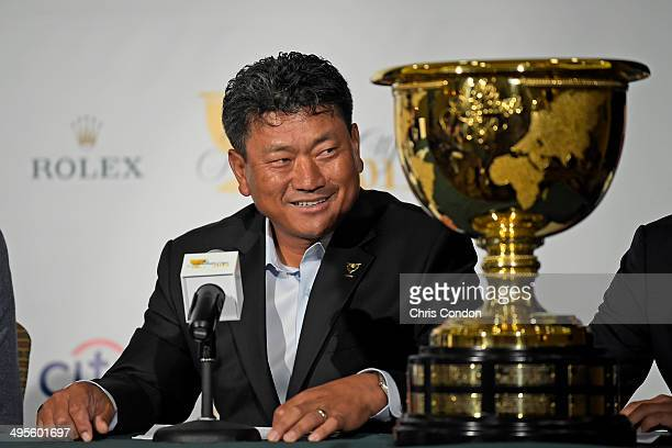 J Choi of South Korea is named as ViceCaptain of the 2015 Presidents Cup International Team during a press conference at the Big Cedar Lodge Legends...