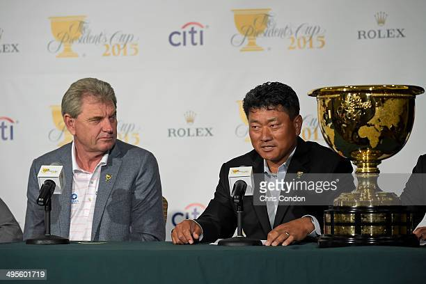 J Choi of South Korea is named as ViceCaptain of the 2015 Presidents Cup International Team by Captain Nick Price of Zimbabweduring a press...
