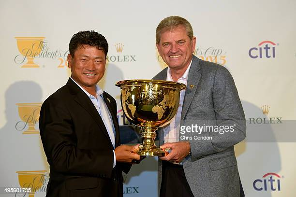 J Choi of South Korea is named as ViceCaptain of the 2015 Presidents Cup International Team by Captain Nick Price of Zimbabwe during a press...