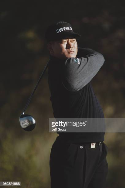 K J Choi of South Korea keeps his eye on his shot during the Phoenix Open golf tournament on 25 January 2002 at the TPC Scottsdale in Scottsdale...