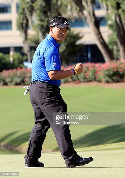 J Choi of South Korea reacts on the 13th hole during the final round of THE PLAYERS Championship held at THE PLAYERS Stadium course at TPC Sawgrass...