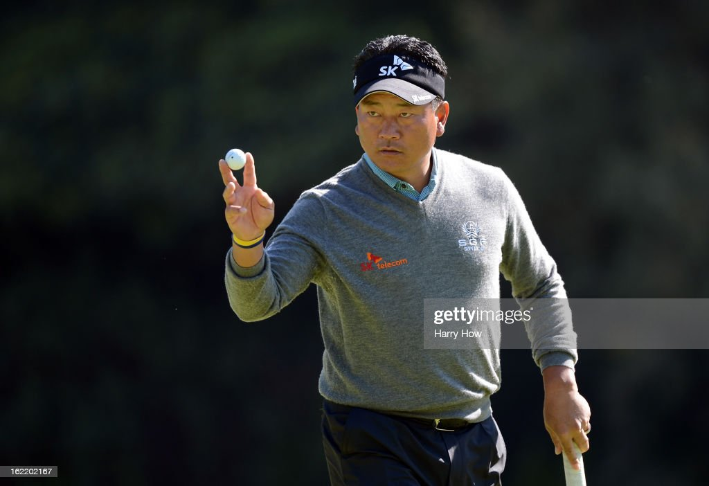 K.J. Choi of South Korea reacts to his par on the 13th green during the first round of the Northern Trust Open at the Riviera Country Club on February 14, 2013 in Pacific Palisades, California.