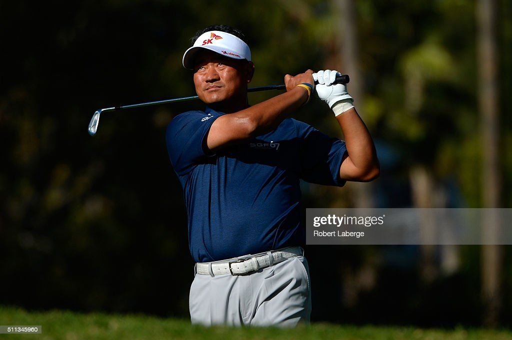 K.J. Choi of South Korea takes his shot on the fifth hole during round two of the Northern Trust Open at Riviera Country Club on February 19, 2016 in Pacific Palisades, California.