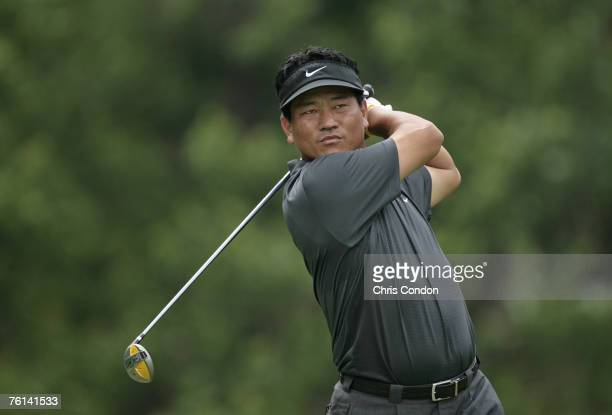 KJ Choi on the 18th tee during the fourth and final round of the Memorial Tournament Presented by Morgan Stanley held at Muirfield Village Golf Club...