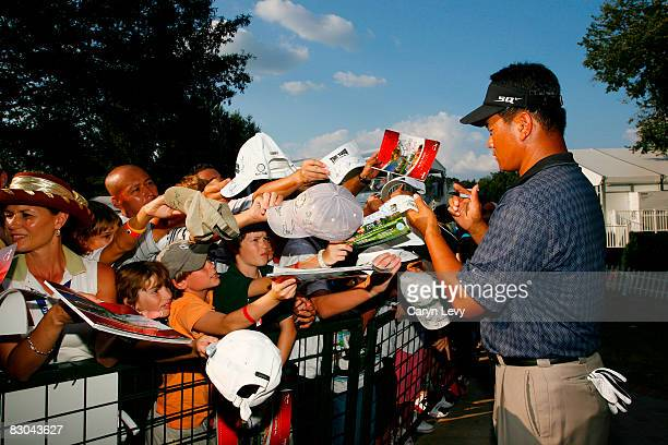 J Choi signs autographs after the final round of THE TOUR Championship presented by CocaCola at East Lake Golf Club on September 28 2008 in Atlanta...