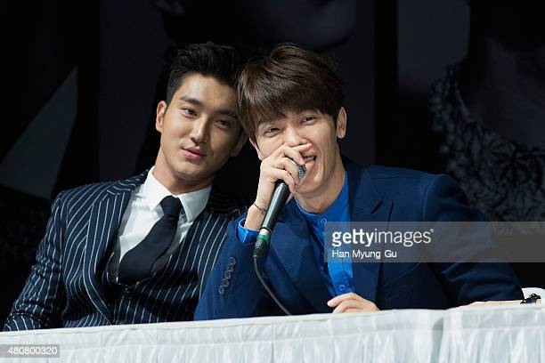Choi SiWon and Donghae of South Korean boy band Super Junior attend the press conference for SM Entertainment's Super Junior 10th Anniversary Special...