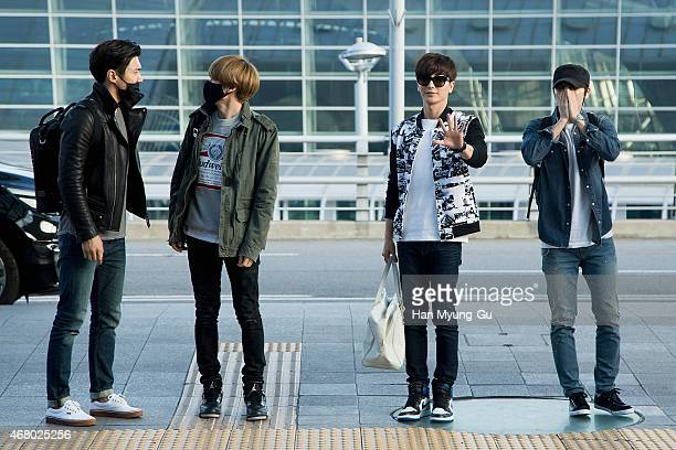 Choi Si-Won , Eunhyuk, Leeteuk and Donghae of South Korean boy band Super Junior are seen on departure at Incheon International Airport on March 28,...