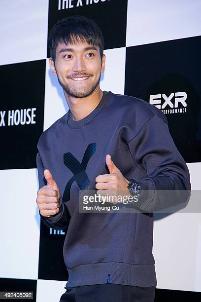 Choi SiWon of South Korean boy band Super Junior attends the EXR Flagship store opening on October 12 2015 in Seoul South Korea