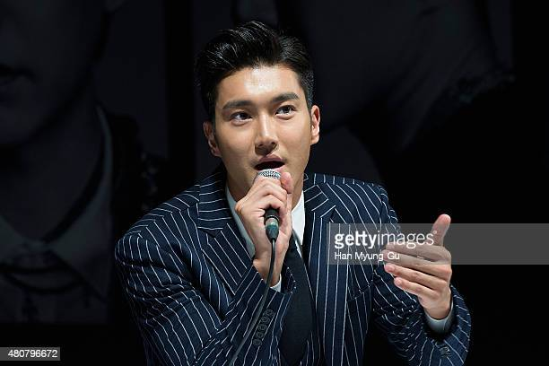 Choi SiWon of South Korean boy band Super Junior attends the press conference for SM Entertainment's Super Junior 10th Anniversary Special Album...