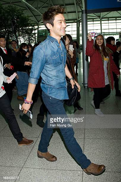 Choi Si-Won of South Korean boy band Super Junior is seen on departure at Incheon International Airport on March 8, 2013 in Incheon, South Korea.