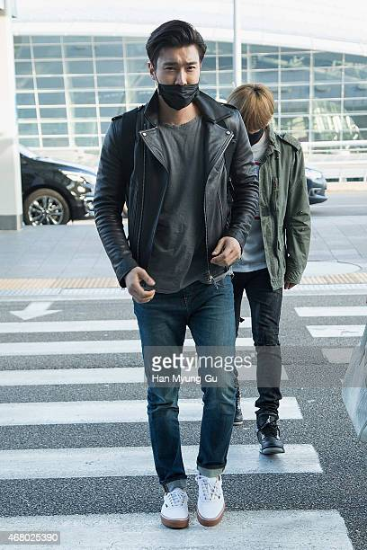 Choi SiWon of South Korean boy band Super Junior is seen on departure at Incheon International Airport on March 28 2015 in Incheon South Korea