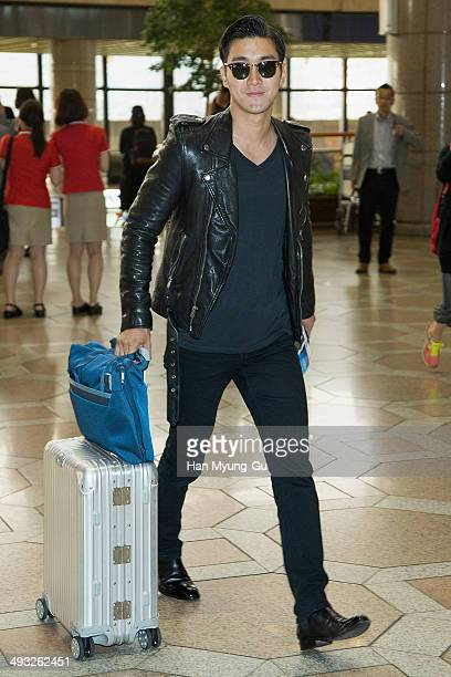 Choi SiWon of South Korean boy band Super Junior M is seen on departure at Gimpo International Airport on May 22 2014 in Seoul South Korea