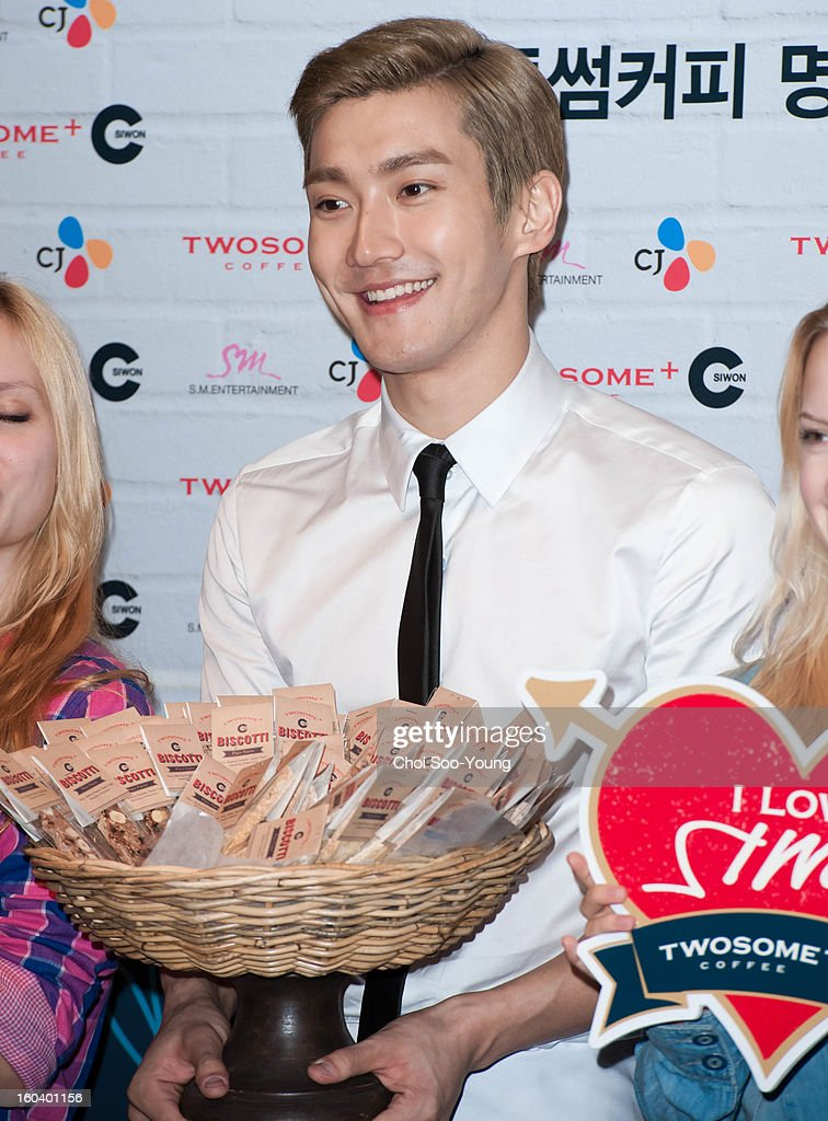 Choi Si-won of Super Junior attends the 'Twosome Coffee Donation Event' at Olive Young Store on January 30, 2013 in Seoul, South Korea.