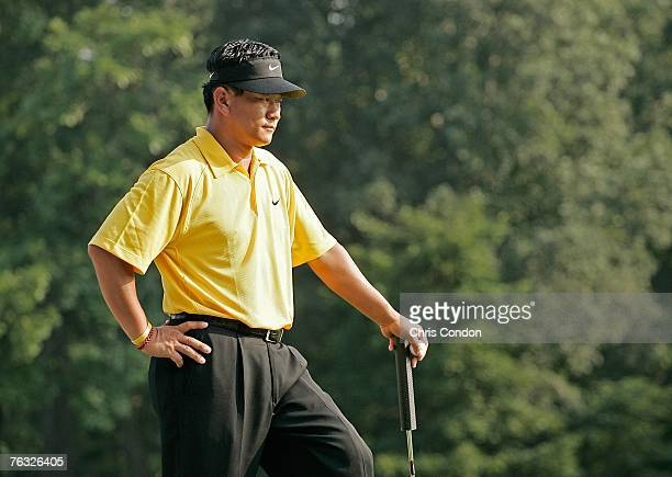 J Choi waits on the 14th green during the third round of The Barclays held at Westchester Country Club August 25 2007 in Harrison New York
