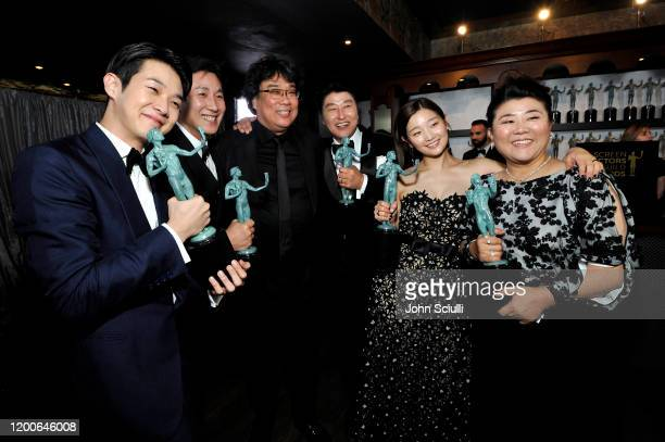 Choi Wooshik Lee Sun Gyun Bong Joonho Song Kang Ho Park Sodam and Jeongeun Lee winners of Outstanding Performance by a Cast in a Motion Picture for...