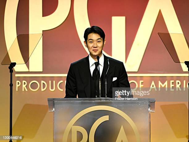 Choi Wooshik speaks onstage during the 31st Annual Producers Guild Awards at Hollywood Palladium on January 18 2020 in Los Angeles California