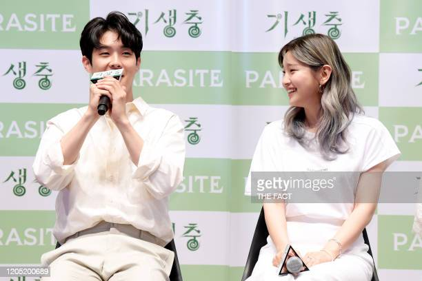 Choi WooSik and Park SoDam attend premiere of Korean Movie 'Parasite' at Lotte Cinema World Tower on June 23 2019 in Seoul South Korea