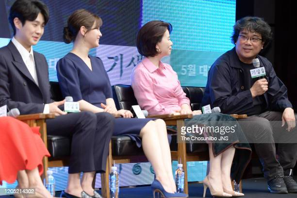 Choi WooSik Park SoDam Jang HyeJin and Bong JoonHo attend premiere of Korean Movie 'Parasite' at Westin Chosun Hotel on April 22 2019 in Seoul South...