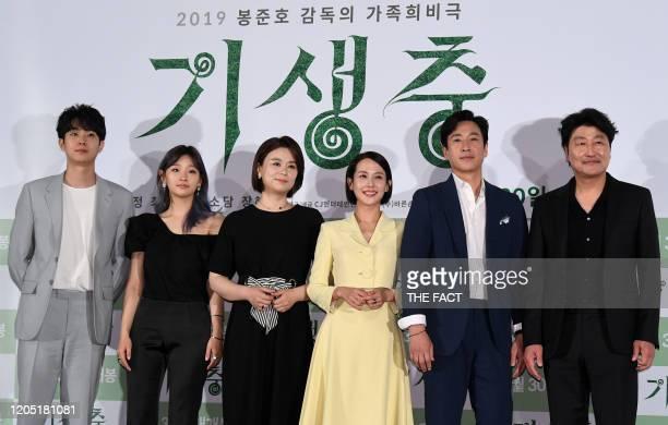 Choi WooSik Park SoDam Jang HyeJin Cho YeoJeong Lee SunKyun and Song KangHo attend press conference of Korean movie 'Parasite' at CGV Yongsan theater...