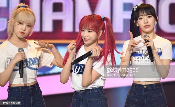 Choi Ye-Na, Jo Yu-Ri, Sakura Miyawaki of Iz*One during MBC music program 'Show Champion' at MBC Dream Center on June 24, 2020 in Goyang, South Korea.
