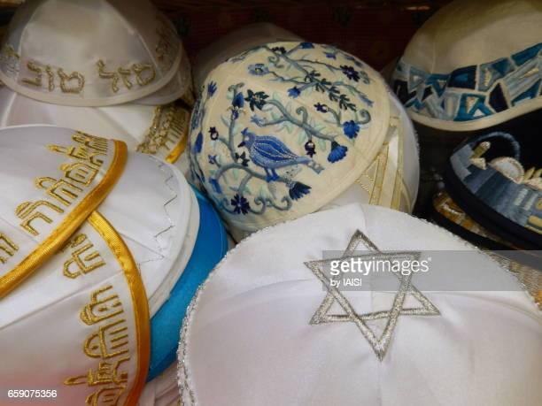 A choice of kipas in Jerusalem