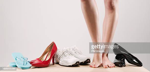 choice of shoes - nette schoen stockfoto's en -beelden