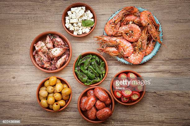 choice of tasty spanish tapas - spanien stock-fotos und bilder