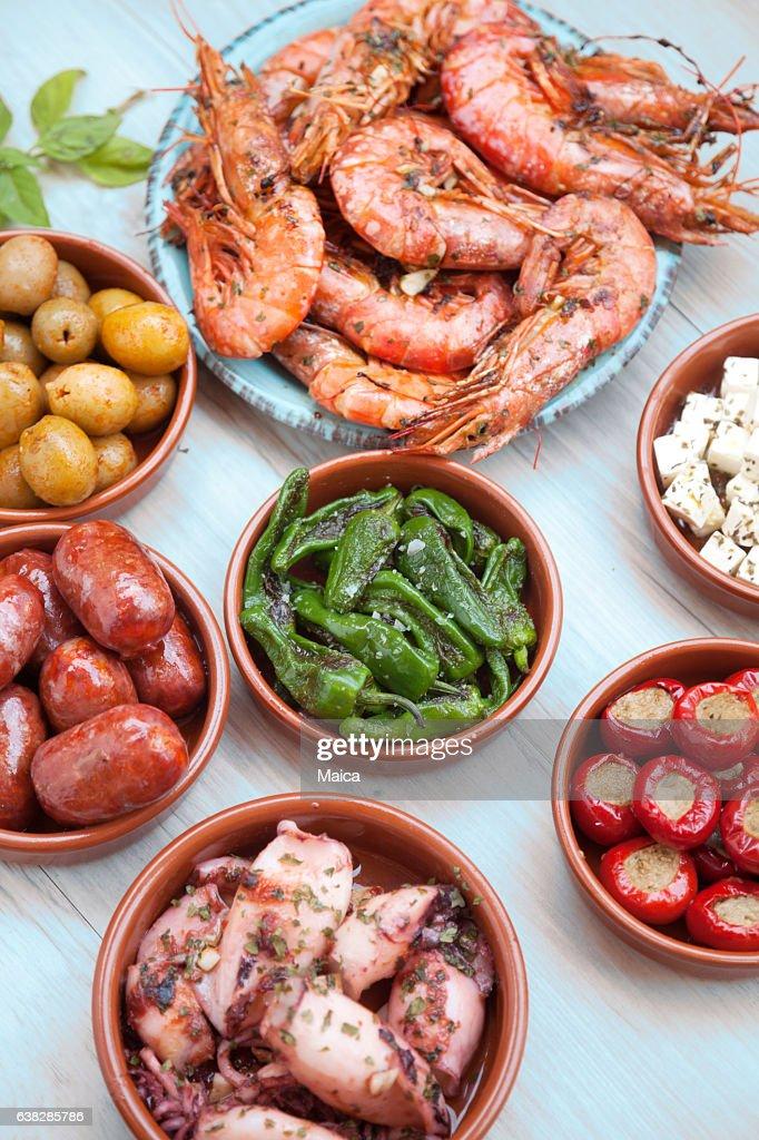 Choice of tasty Spanish tapas : Stock Photo