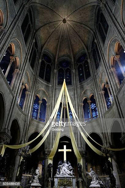 Choir and Pieta statue, Sculptor Nicolas Coustou, Notre-Dame de Paris cathedral.