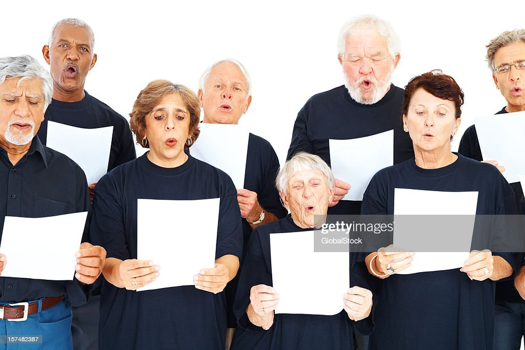 Choir group of people with notes on white : Stock Photo