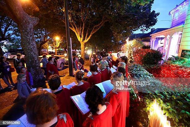 A choir group sings chrismas carols on Franklin Road on December 14 2016 in Auckland New Zealand It is the 23rd year Franklin Road residents have...