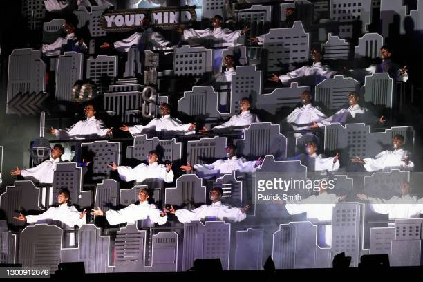 Choir is seen onstage as The Weeknd performs during the Pepsi Super Bowl LV Halftime Show at Raymond James Stadium on February 07, 2021 in Tampa,...