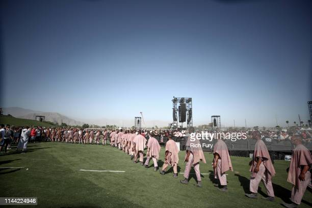 Choir members perform at Sunday Service during the 2019 Coachella Valley Music And Arts Festival on April 21 2019 in Indio California
