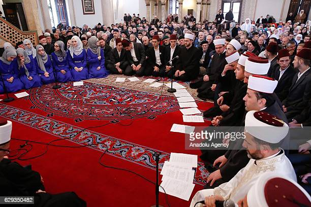 Choir perform hymn during an event held for commemorating the birth of Muslims' beloved Prophet Muhammed known in Arabic as Mawlid alNabi at Gazi...