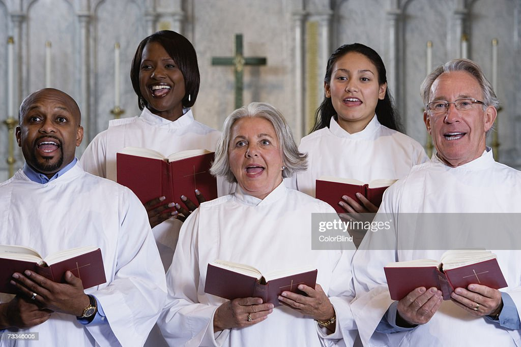 Choir singing in church : Stock Photo