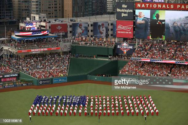 Choirs perform the national anthem prior to the 89th MLB AllStar Game presented by Mastercard at Nationals Park on July 17 2018 in Washington DC