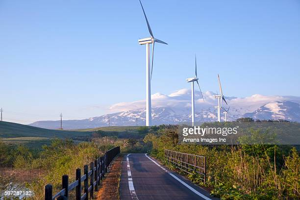 Chokai-san Mountain and Wind Turbines