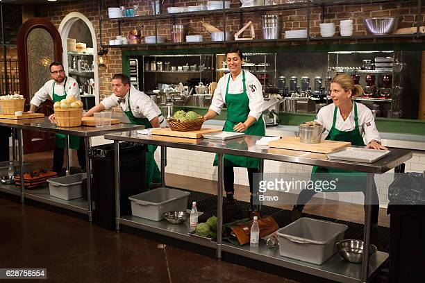 TOP CHEF 'Choke Holds and Clammy Hands' Episode 1403 Pictured BJ Smith Katsuji Tanabe Silvia Barban Casey Thompson
