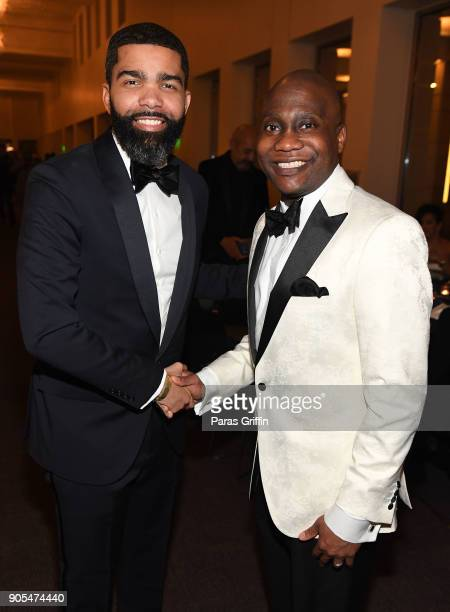 Chokwe Antar Lumumba and Errick D Simmons attend 49th NAACP Image Awards After Party at Pasadena Civic Auditorium on January 15 2018 in Pasadena...