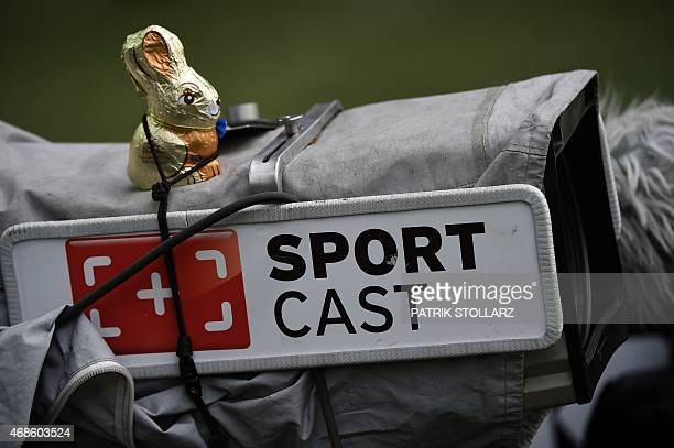 Cholate easter rabbit is seen on a TV camera prior to the German first division Bundesliga football match Borussia Dortmund vs FC Bayern Munich in...