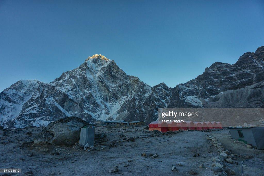 Cholatse mountain peak with sunrise, Everest region, Nepal : Stock Photo