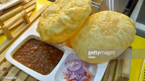 chole batura evening snack - kolkata stock pictures, royalty-free photos & images
